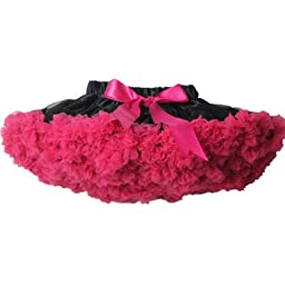 Buenos Ninos Girl\'s Mix-Color Dance Tutus Chiffon Pettiskirt Black with Hot Pink Ruffle Size 7-8T