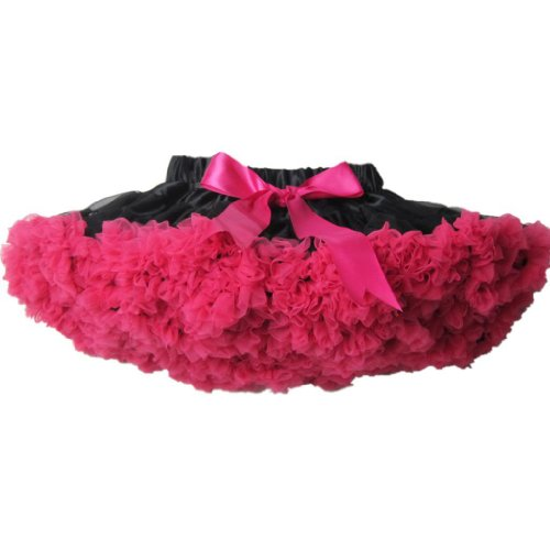 Buenos Ninos Girl's Mix-Color Dance Tutus Chiffon Pettiskirt Black with Hot Pink Ruffle Size (Hot Pink Pettiskirt Tutu)