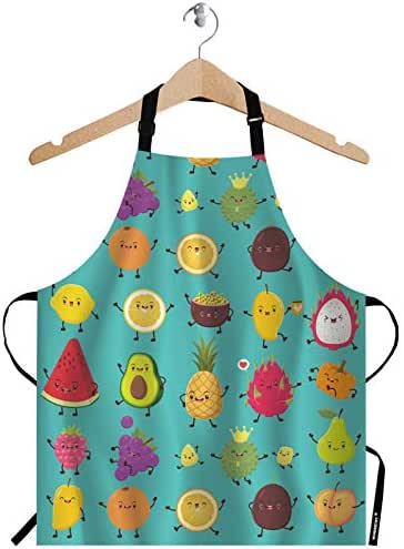 WONDERTIFY Fruit Apron,Cute Cartoon Fruit Animation Durian Pineapple Children Bib Apron with Adjustable Neck for Men Women,Suitable for Home Kitchen Cooking Waitress Chef Grill Bistro Baking Apron
