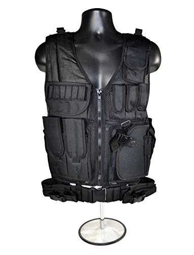 (Sniper Tactical Vest and Belt with Padded Right Shoulder and Cross Draw Holster in Black)