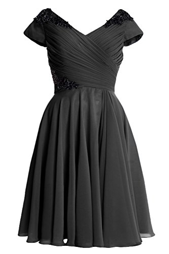 Of Gown Black Sleeve Mother Women Formal Macloth Cap Dress Bride Short Wedding Party B0q6xp