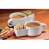 Soup And Cracker Ceramic 8.5 Oz Mug, Set Of 2