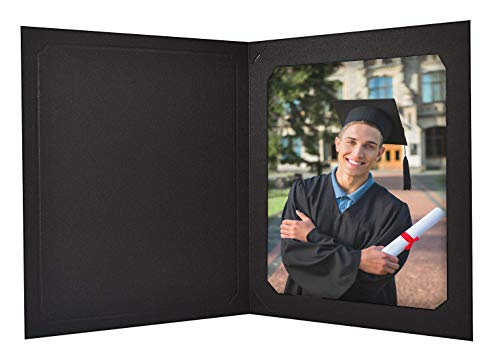 Pack of 25 - Black Photo Folder - for 8x10/6x10 Pictures - Portrait Holders - Sturdy Cardstock, Acid Free - for Weddings, Graduations, Baby Showers, Parties, Events