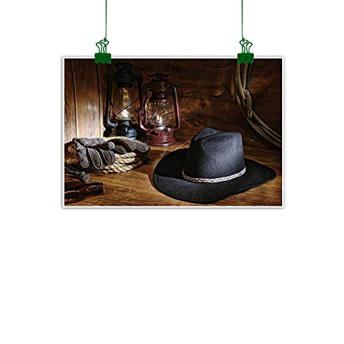 Cowboy Equipment Rodeo - Mangooly Western,Wall Decoration American Rodeo Equipment with Cowboy Felt Hat Ranching Tools Lanterns Photo Living Room Wall Decor Black and Brown W 32