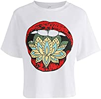 YUNY Women's Patterned Cropped Crewneck Cotton Short Sleeves T-Shirt White XS