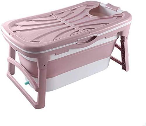 KJRJCQ シャワーストールSPAバスバスケット、ダブルドレイン、PPとTPE素材、10キロでタブを浸漬大人の赤ちゃん幼児のための折り畳み式のバスタブポータブルトイレホットタブ (Color : Pink)