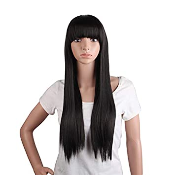 Amazon.com   Heat Resistant Long Straight Synthetic Brown Black Hair Wig  Costume Cosplay Salon Party Women Flat Bangs Hairpieces Brownish Black  28inches   ... f587aeb296