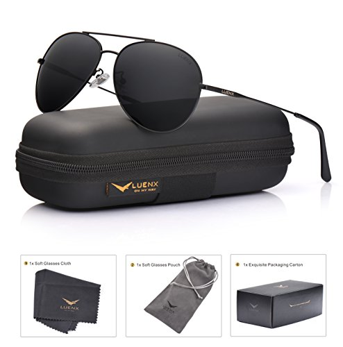 LUENX Men Women Aviator Sunglasses Polarized Non-Mirrored All Black Lens Metal Frame UV 400 59MM Driving Fashion with - Men Aviator For Sunglasses Mirrored Polarized
