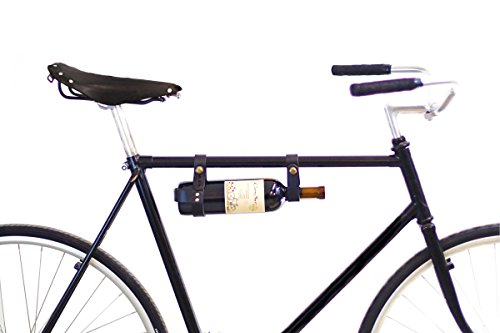 Bicycle Wine Rack Carrier - Bike Bottle Holder - Black Leather