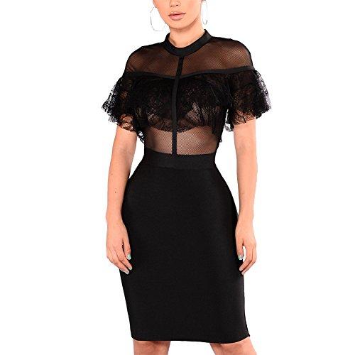 Lace Bandage Dress - Luluka Women's Sexy Lace Patchwork Bodycon Bandage Party Midi Club Dress US Medium Black