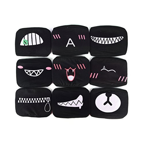 DINGJIN 9 Pcs Mouth Mask Unisex Cartoon Funny Teeth Pattern Three Layers Cotton Half Face Mask Anti-dust Mask,Black