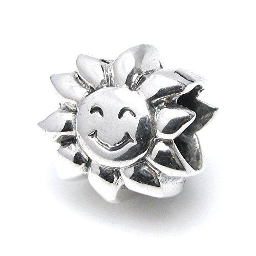 Dreambell 925 Sterling Silver Happy Smile Sunflower Sun Bead For European Charm Bracelet