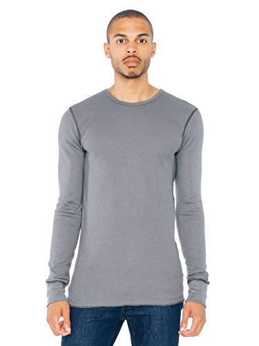 American Apparel Men Baby Thermal Crewneck Long Sleeve T-Shirt Size S Asphalt