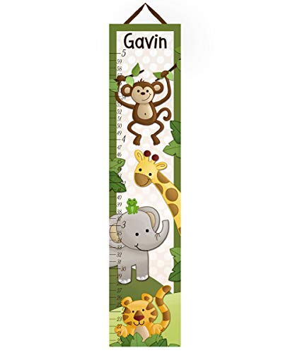 Toad and Lily Canvas GROWTH CHART Jungle Safari Animals in Green Babies Bedroom Baby Nursery Wall Art GC0065 (Safari Growth Chart)