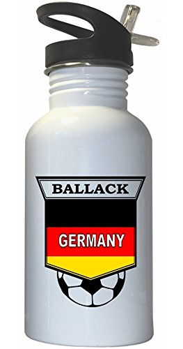 Michael Ballack (Germany) Soccer White Stainless Steel Water Bottle Straw Top