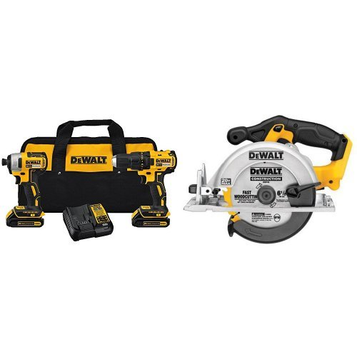 DEWALT DCK277C2 20V MAX Compact Brushless Drill and Impact Combo Kit with Circular Saw