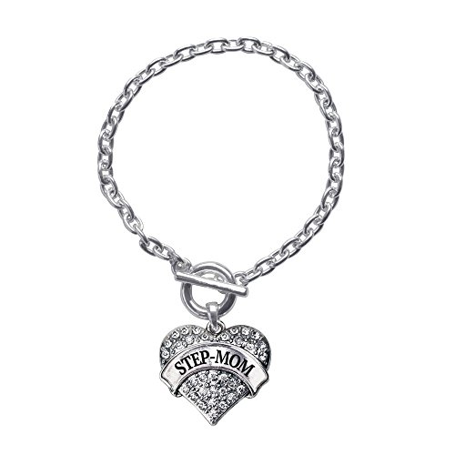 Inspired Silver Step-Mom Pave Heart Toggle Charm Bracelet with Clear Rhinestones