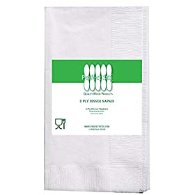 Perfect Stix White Dinner Napkin-300 2-Ply White Dinner Napkins, 0.1″ Height, 17″ Width, 15″ Length (Pack of 300)