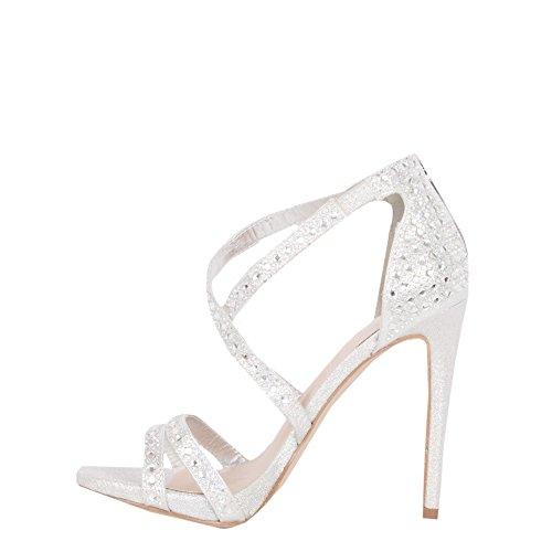LAUREN LORRAINE Amore Silver Rhinestone Embellished Stappy Formal Dress Sandal (9.5) 9BhVWyut