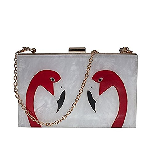 Mogor Women's Designer Elegant Flamingo Hard Case Chain Shoulder Bag Perspex Handbag Box Clutch style2