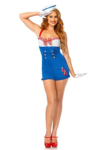 Leg Avenue Women's 2 Piece High Seas Honey Sailor Costume, Multi, (Leg Avenue Sailor Costume)