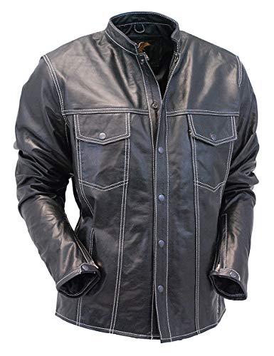King Leathers Men's Real Lambskin Genuine Leather Shirt Stylish Biker Shirt KMS48 Black