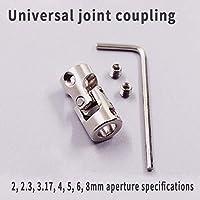 Fevas 1pc 2mm 2.3mm 3mm 3.17mm 4mm 5mm 6mm 8mm 10mm RC Car Boat Model Universal Coupler Joint Coupling Steel Shaft Connector Inner Diameter: 3mm-5mm