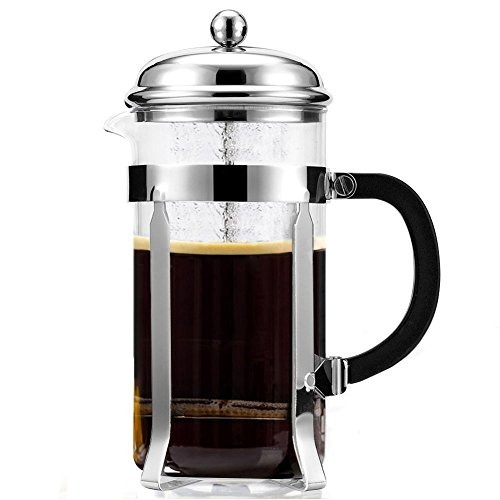Mr Coffee Maker | Exclusive 34 Oz/8cups French Coffee Press Maker Espresso | Premium Glass and Stainless Steel | Completely Heat Resistant Glass | Suitable for Coffee, Tea, Milk, Lemonades and More