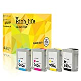 Rich_life Remanufactured Ink Cartridge Replacement for HP 940XL Black C4906A Cyan C4907A Magenta C4908A Yellow C4909A Officejet Pro 4 Pack (Black,Cyan,Magenta,Yellow)