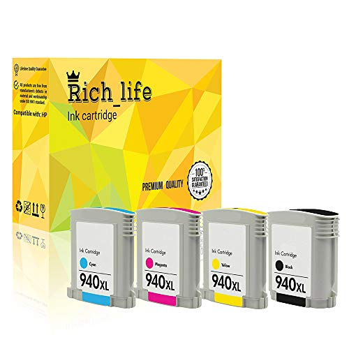 Rich_life Remanufactured Ink Cartridge Replacement for HP 940XL Black C4906A Cyan C4907A Magenta C4908A Yellow C4909A Officejet Pro 4 Pack (Black,Cyan,Magenta,Yellow) ()