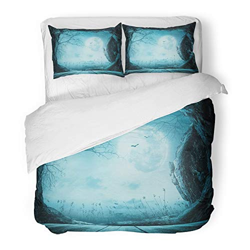Emvency 3 Piece Duvet Cover Set Brushed Microfiber Fabric Breathable Blue Easter Halloween Wooden Table with Empty Tomb Stone at Spooky Night 3D Bedding Set with 2 Pillow Covers Twin -