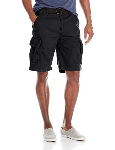 UNIONBAY Men's Survivor Belted Cargo Short, Black, 42 by UNIONBAY