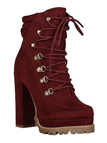 Women D-Ring Lace Up Lug Sole Chunky Platform Booties RB23 - Wine Faux Suede (Size: 8.5)