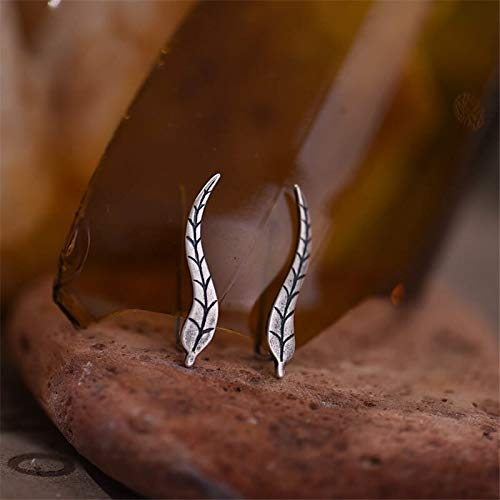925 Sterling Silver Ear Clip Personality Exaggerated Seaweed Ears Ear Jewelry New Exotic Sterling Silver Retro Old Girl Ear Clip (925 Silver 1 Pair)