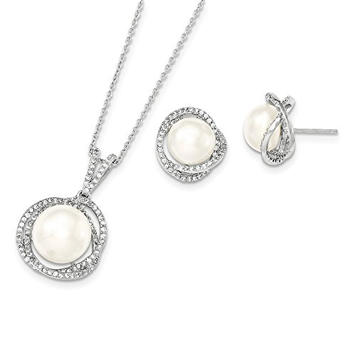 Sterling Silver Rhodium 10-12mm White FWC Pearl CZ Neck and Earring Set by CoutureJewelers