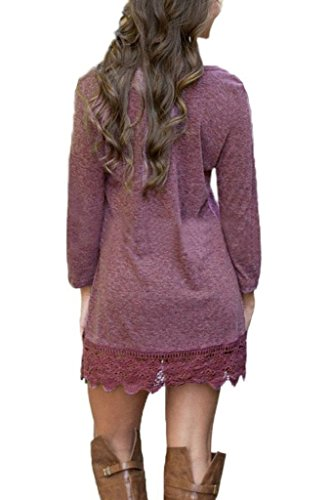 Long Stitching Red Trim Women's Dress Casual line AEETE Purplish Sleeve Lace A Sw5BqYgq