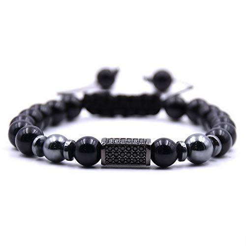 Hebel Hot Sale Mens Braided Bracelets Zircon Rectangle Lava Rock Bracelets | Model BRCLT - 30857 | -