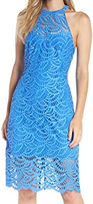 Lilly Pulitzer Womens Kenna Dress Bennet Blue Scalloped