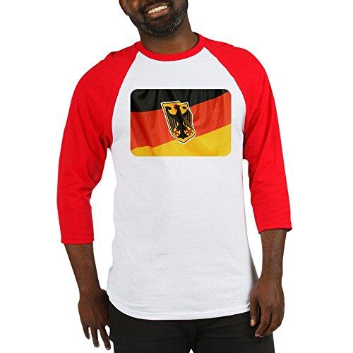 Royal Lion Baseball Jersey German Flag Waving - Red/White, Large ()