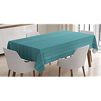Ambesonne Teal Decor Tablecloth, Vertical Stripes Lines Ethnic Dress Fabric Patterns Modern Decorative Illustration, Rectangular Table Cover for Dining Room Kitchen, 60x84 Inches, Blue Green