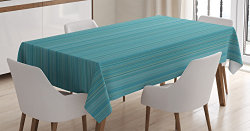 Ambesonne Teal Decor Tablecloth, Vertical Stripes Lines Ethnic Dress Fabric Patterns Modern Decorative Illustration, Rectangular Table Cover for Dining Room Kitchen, 60x84 Inches, Blue -