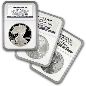 2006-W (3 Coin) Silver Eagle Set (NGC MS-69 & PR-69 UCAM)