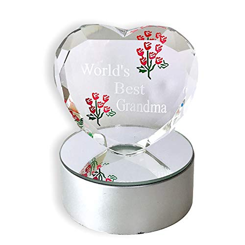 BANBERRY DESIGNS Light up LED Heart for Grandma - Worlds Best Grandma - Etched Glass Heart on LED Lighted Base