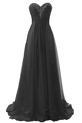 idesmaid Dresses Long Chiffon Formal Evening Gown A line Black US10 ()