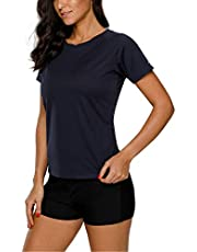 Vegatos Damen Kurzarm Rash Guard Farbig UV-Shirt UPF 50+