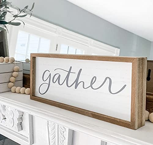 word+joy Gather Sign Small | 12x5-Inch Gather Rustic Sign - Gather Signs for Home Decor Wall - Gather Wall Decor for…
