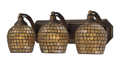 Elk 570-3B-GLD 3-Light Vanity in Aged Bronze and Gold Mosaic Glass