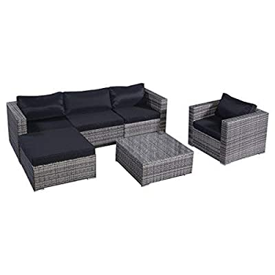 "Tangkula Patio Furniture Set 6 Piece Outdoor Lawn Backyard Poolside All Weather PE Wicker Rattan Steel Frame Sectional Cushioned Seat Sofa Conversation Set (Gradient Gray with Black Cushion Cover) - 【Sturdy & Long-lasting】Tangkula 6 piece outdoor wicker furniture includes 1 coffee table, 1 ottoman, 1 single sofa, 1 armless sofa and 2 corner sofas. They are made of aluminum frame and surrounded by PE wicker. Aluminum construction ensures stable, large weight capacity but light and easy to move. PE wicker is weatherproof, suitable for outdoor furniture. Cushions are made of polyester fabric and sponge. This furniture can be lasted for years. 【Modern & Comfortable】The 6 PCS wicker sofa set comes with gray wicker and black cushions. Specific color. 3.15"" thick and soft cushion will bring you relax and comfortable. You can place this furniture in variety of ways in anywhere. 【Installation & Size】All necessary hardware and tools are included in the package. It's very easy to assemble with our manual. Single Sofa: 33""×29.53""×24.8""(L×Deep×H), Ottoman: 29.53""×29.53""×12.60""(L×Deep×H), Table: 29.53""×29.53""×12.60""(L×W×H), more detail info plz check pic - patio-furniture, patio, conversation-sets - 41MS6m6oghL. SS400  -"