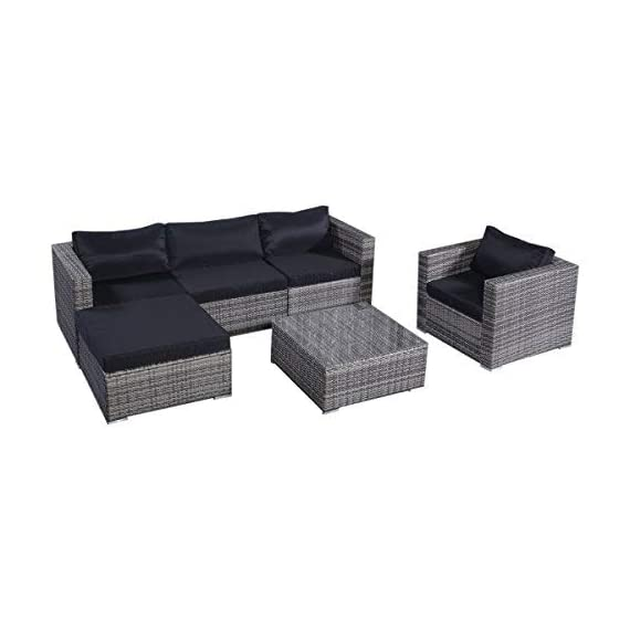 """Tangkula Patio Furniture Set 6 Piece Outdoor Lawn Backyard Poolside All Weather PE Wicker Rattan Steel Frame Sectional Cushioned Seat Sofa Conversation Set (Gradient Gray with Black Cushion Cover) - 【Sturdy & Long-lasting】Tangkula 6 piece outdoor wicker furniture includes 1 coffee table, 1 ottoman, 1 single sofa, 1 armless sofa and 2 corner sofas. They are made of aluminum frame and surrounded by PE wicker. Aluminum construction ensures stable, large weight capacity but light and easy to move. PE wicker is weatherproof, suitable for outdoor furniture. Cushions are made of polyester fabric and sponge. This furniture can be lasted for years. 【Modern & Comfortable】The 6 PCS wicker sofa set comes with gray wicker and black cushions. Specific color. 3.15"""" thick and soft cushion will bring you relax and comfortable. You can place this furniture in variety of ways in anywhere. 【Installation & Size】All necessary hardware and tools are included in the package. It's very easy to assemble with our manual. Single Sofa: 33""""×29.53""""×24.8""""(L×Deep×H), Ottoman: 29.53""""×29.53""""×12.60""""(L×Deep×H), Table: 29.53""""×29.53""""×12.60""""(L×W×H), more detail info plz check pic - patio-furniture, patio, conversation-sets - 41MS6m6oghL. SS570  -"""