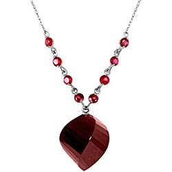 16.25 Carat 14k Solid White Gold Necklace with Natural Twisted Dyed Briolette Ruby Pendant